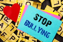 Handwritten text showing Stop Bullying. Conceptual photo Awareness Problem About Violence Abuse Bully Problem written on colorful. Handwritten text showing Stop Royalty Free Stock Image