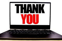 Handwritten text showing Thank You. Business concept writing for Gratitude Thanks Written on monitor front screen, white backgroun stock photo