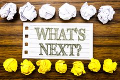 Handwritten text showing What is Next Question. Business concept for Next Future Plan Vision Progress Goal Guidance Written on sti royalty free stock images