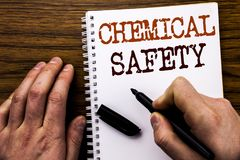 Handwritten text showing word Chemical Safety. Business concept for Hazard Health At Work Written on tablet laptop, wooden backgro. Handwritten text showing word stock photos
