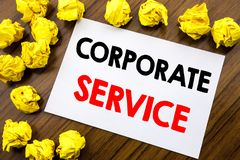 Handwritten text showing word Corporate Service. Business concept writing Csr Digital Content Written on sticky note paper, wooden. Handwritten text showing word Royalty Free Stock Images