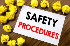 Handwritten text showing word Safety Procedures. Business concept writing Accident Risk Policy Written on sticky note paper, woode. Handwritten text showing word Stock Photo