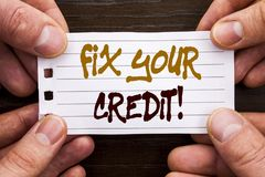 Handwritten text sign showing Fix Your Credit. Business concept for Bad Score Rating Avice Fix Improvement Repair written on Stick. Handwritten text sign showing Royalty Free Stock Image