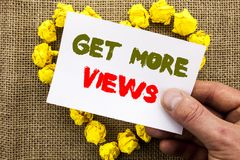 Handwritten text sign showing Get More Views. Conceptual photo More Traffic Leads Online Page Promotion Popularity Traffic written. Sticky Note Paper With Heart Stock Photography