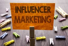 Handwritten text sign showing Influancer Marketing. Business concept for Social Media Online Influence Strategy written on sticky. Handwritten text sign showing Royalty Free Stock Images