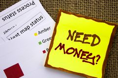 Handwritten text sign showing Need Money Question. Business concept for Economic Finance Crisis, Cash Loan Needed written on Stick. Handwritten text sign showing Royalty Free Stock Images