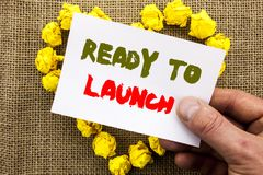 Handwritten text sign showing Ready To Launch. Conceptual photo Prepare New Product Promotion Start Release written on Sticky Note. Handwritten text sign showing royalty free stock photo