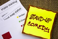 Handwritten text sign showing Stand Up Comedy. Business concept for Entertainment Club Fun Show Comedian Night written on Sticky N. Handwritten text sign showing Royalty Free Stock Photography