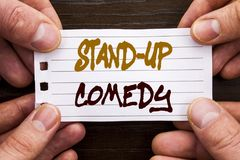 Handwritten text sign showing Stand Up Comedy. Business concept for Entertainment Club Fun Show Comedian Night written on Sticky N. Handwritten text sign showing Stock Images