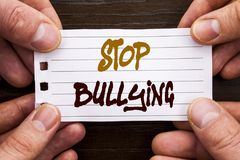 Handwritten text sign showing Stop Bullying. Business concept for Awareness Problem About Violence Abuse Bully Problem written on. Handwritten text sign showing Royalty Free Stock Image