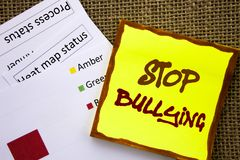 Handwritten text sign showing Stop Bullying. Business concept for Awareness Problem About Violence Abuse Bully Problem written on. Handwritten text sign showing Royalty Free Stock Images