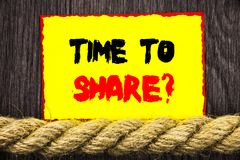 Handwritten text sign showing Time To Share Question. Conceptual photo Your Story Sharing Feedback Suggestion Information  written. Sticky note next to the rope Stock Photography