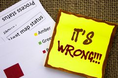 Handwritten text sign showing It Is Wrong. Business concept for Correct Right Decision To Make Or Mistake Advice written on Sticky. Handwritten text sign showing Royalty Free Stock Photography