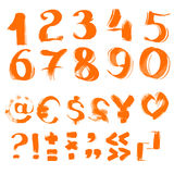 Handwritten textured brush symbols and numbers Royalty Free Stock Image