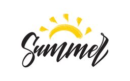 Handwritten type lettering composition of Summer with hand drawn brush sun. Vector illustration: Handwritten type lettering composition of Summer with hand drawn Royalty Free Stock Photos