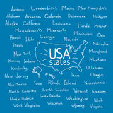 Handwritten USA states vector illustration Stock Photography
