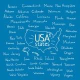 Handwritten USA states vector illustration Stock Photography