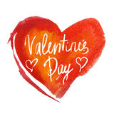 Handwritten Valentines Day calligraphy on waterc Royalty Free Stock Photo