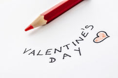 Handwritten Valentines day message Royalty Free Stock Photography