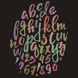 Handwritten vector alphabet. Grunge texture. Stock Photography