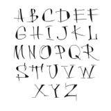 Handwritten vector calligraphic black alphabet on white background. Handwritten vector calligraphic black alphabet on white background royalty free illustration