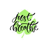 Handwritten vector phrase - just breathe. Modern calligraphic print. Print design for cards, poster or t-shirt. Handwritten vector phrase - just breathe. Modern Royalty Free Stock Images