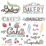 Handwritten vintage retro bakery logo labels. Vect Royalty Free Stock Photo