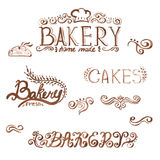 Handwritten vintage retro bakery logo labels. Vect Royalty Free Stock Image