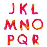 Handwritten watercolor alphabet Stock Images