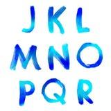 Handwritten watercolor alphabet Stock Photos