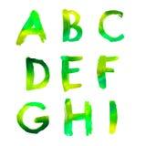 Handwritten watercolor alphabet Stock Image