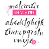 Handwritten Watercolor Calligraphic Font. Modern Brush Lettering Royalty Free Stock Image
