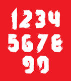 Handwritten white vector freak numbers, stylish digits Royalty Free Stock Photography