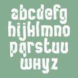 Handwritten white vector  lowercase letters, painted sty Stock Images