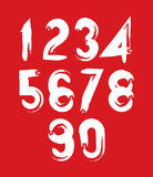 Handwritten white vector numbers on red backdrop, stylish number Royalty Free Stock Images