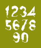 Handwritten white vector numbers, stylish numbers set drawn with. Ink brush on green background Stock Photo
