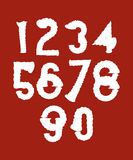 Handwritten white wavy vector numbers  on red background Royalty Free Stock Photography