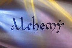 Handwritten word alchemy in medieval latin script Royalty Free Stock Image
