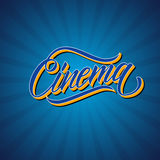 Handwritten word Cinema. Hand drawn lettering. Calligraphic element for your design. Royalty Free Stock Images