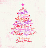 Handwritten word cloud Christmas tree greeting card design Stock Photos