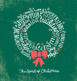 Handwritten word cloud Christmas Wreath Holiday Greeting Card Royalty Free Stock Images