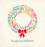 Handwritten word cloud Christmas Wreath Holiday Greeting Card Stock Images