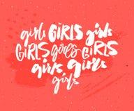 Handwritten word girl in different brush lettering styles. Feminism t-shirt print. Graffiti caption. Feminist slogan vector illustration