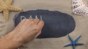Handwritten word PANAMA written in chalk, among seashells and stars. Top view. Places for tourism and recreation stock video footage