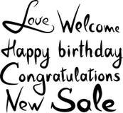 Handwritten words happy birthday new sale welcome love. Handwritten words happy birthday vector royalty free illustration