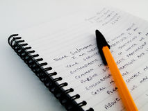 Handwritten Writing a Letter on Lined Paper Stock Images