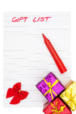 Handwrtten gift list and presents Stock Photo
