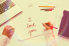 Handwtriting text: I love you. Stock Images