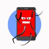 Handy angesteckt mit Virus lizenzfreie abbildung