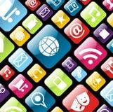Handy-APP-Ikonenhintergrund Stockfotos